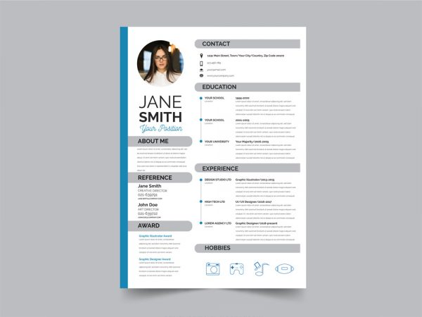 Free Modern Flat Resume Template
