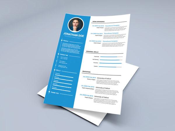 Free Timeline CV Template with Blue Color Scheme