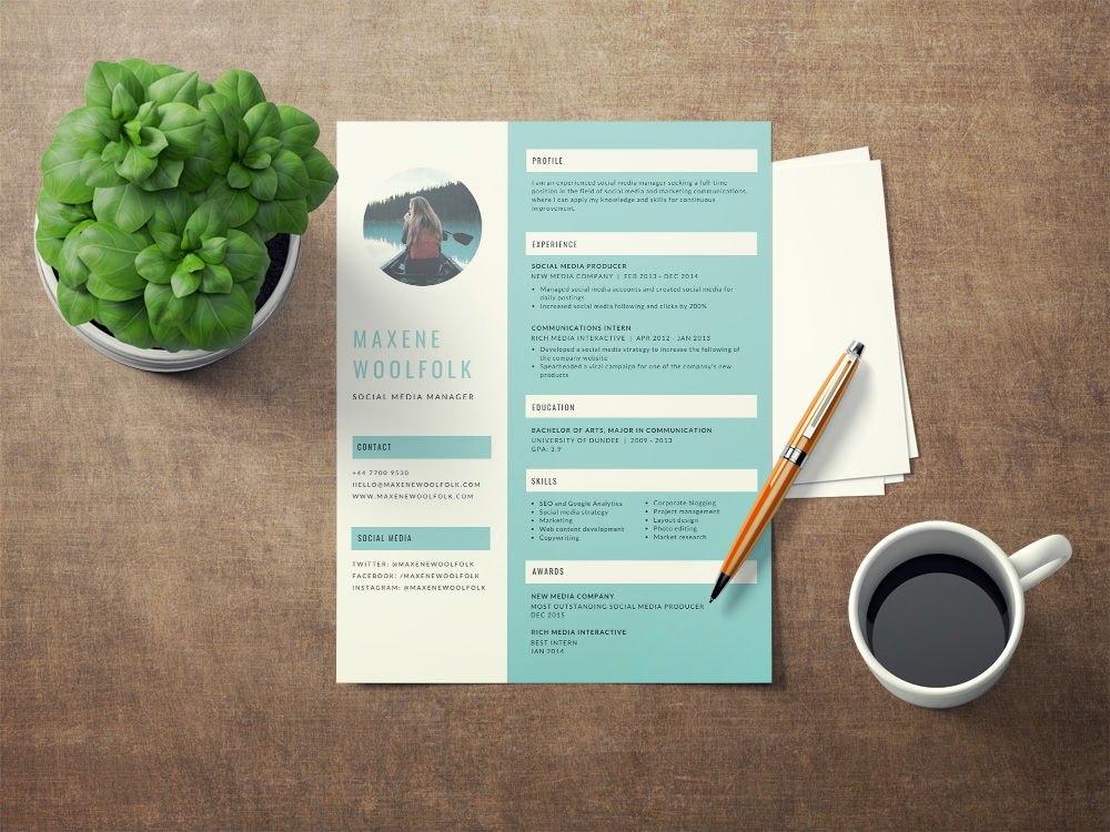 Free Creative Resume Template Blue Color Scheme