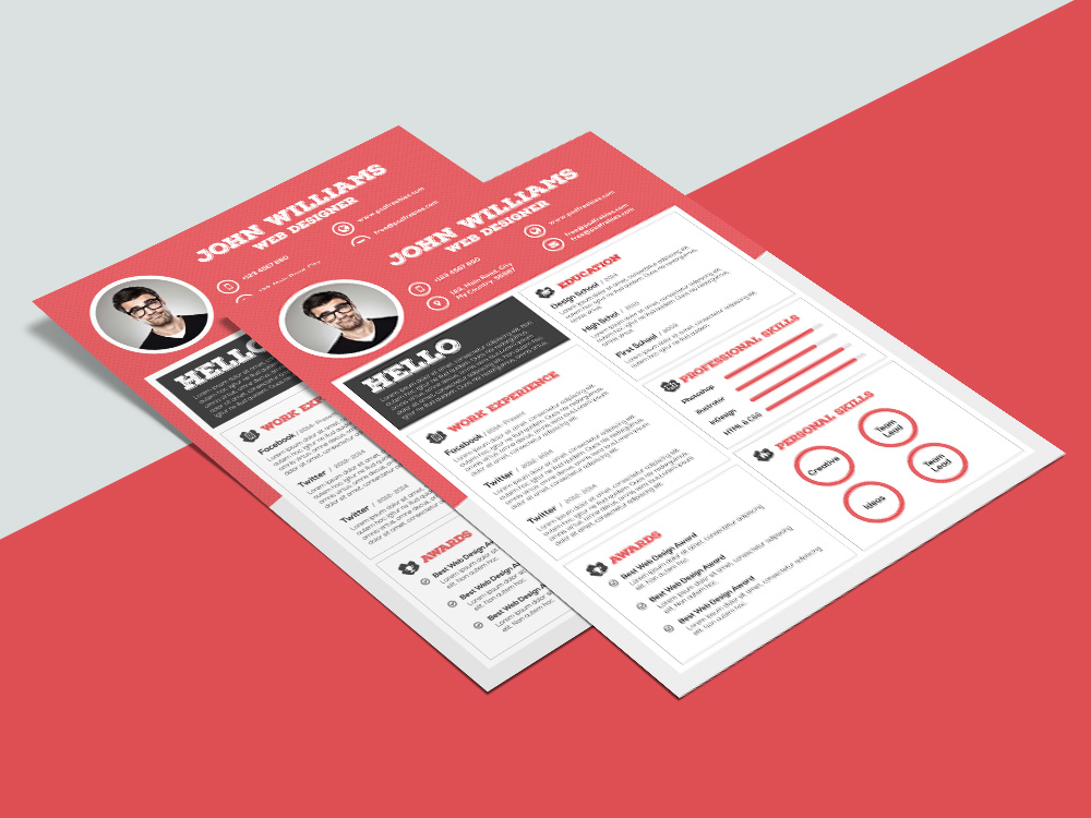 free clean resume template with sharp design