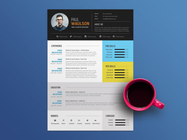 Free Elegant PSD Resume Template for Job Seeker