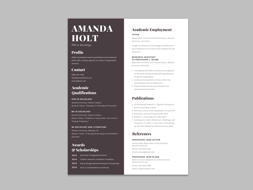 Free Academic Resume Template With Formal Design For Your Next Opportunity.  Easy For Use, You Can Change The Colors, Borders, Text, And More.