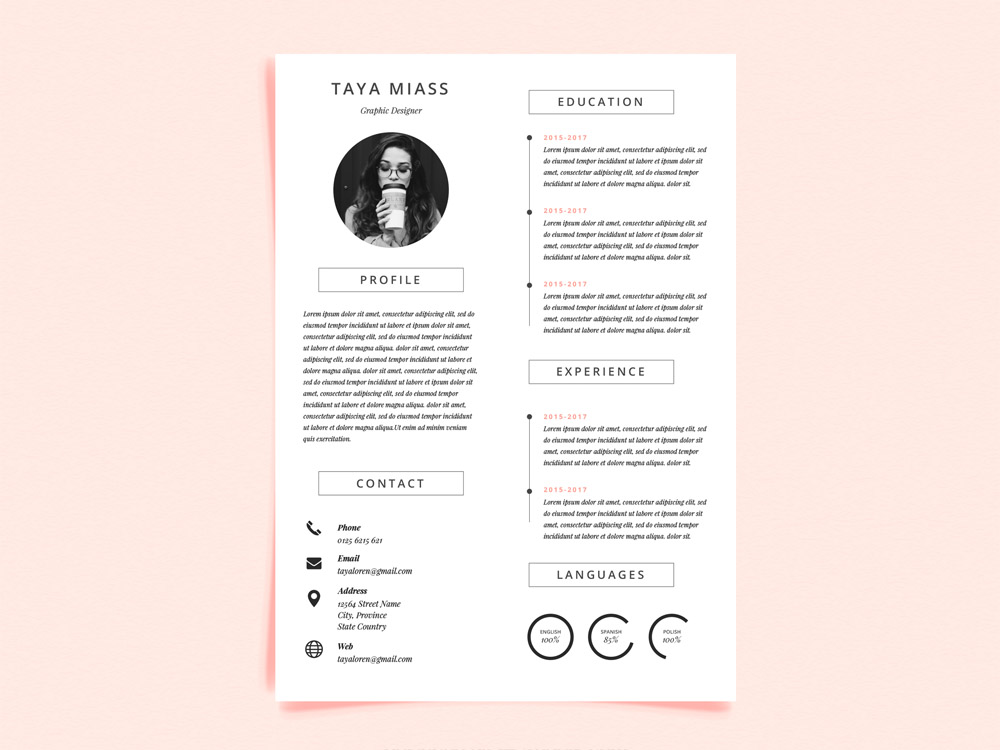 Miass Resume Free Curriculum Vitae Template With Minimalist Design