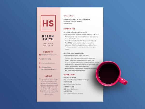 Free Pink Resume Template with Elegant Design