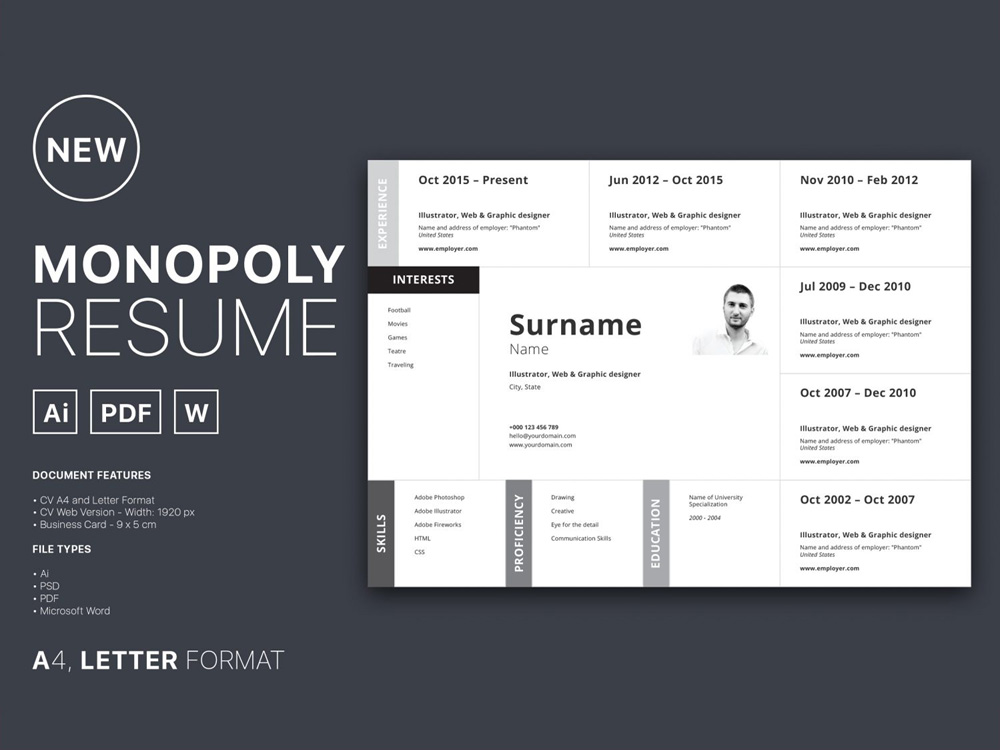 Monopoly - Free Horizontal Resume Template in Multiple Format