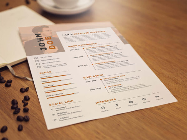 Free Nice Clean Resume Template in PSD File Format
