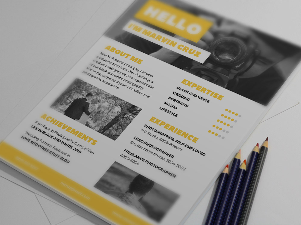 free yellow photographer resume template