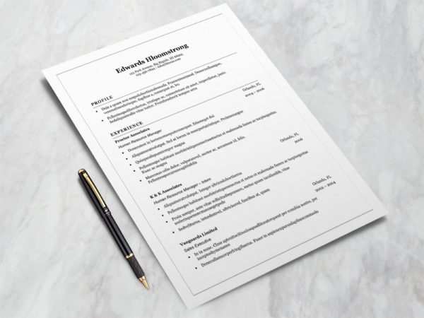 Free Microsoft Word Resume Template with Classic Style Design