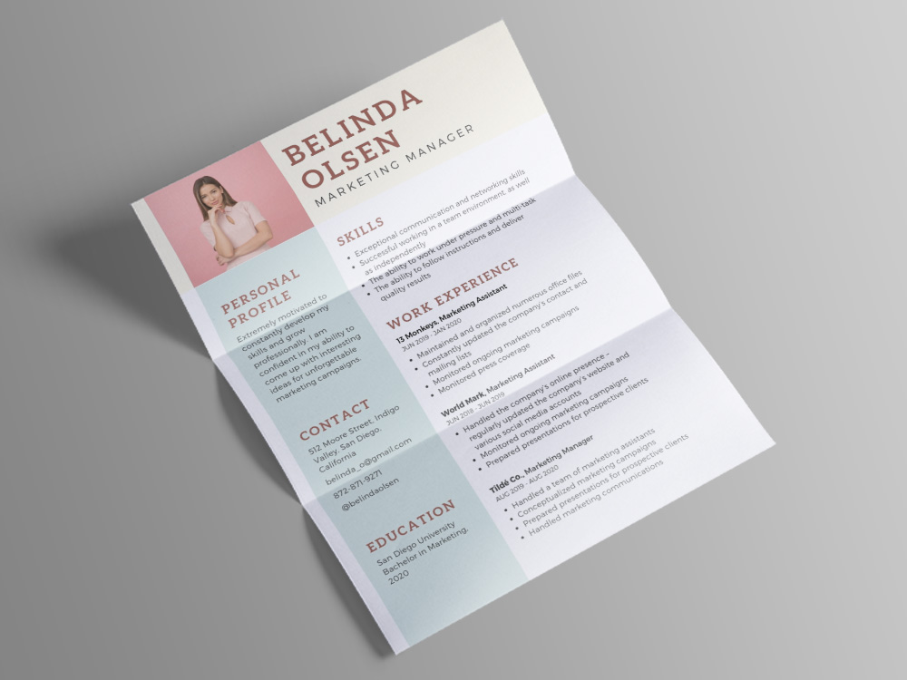 free marketing manager cv template with pastel color combination