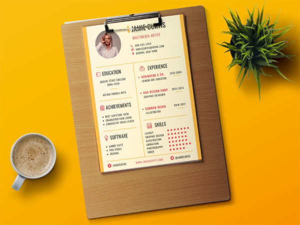 Free Multimedia Artist Resume Template with Stylish Design