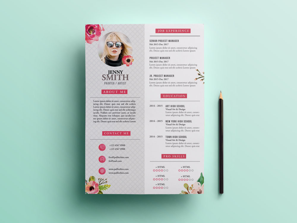 Free Painter Resume Template With Artistic Design