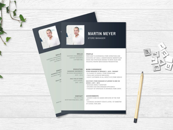 Free Store Manager Resume Template with Elegant Design