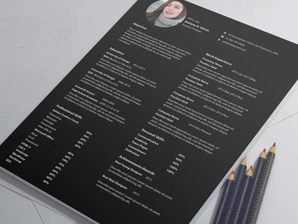 Free Minimalist PSD CV Template with Three Colors Option