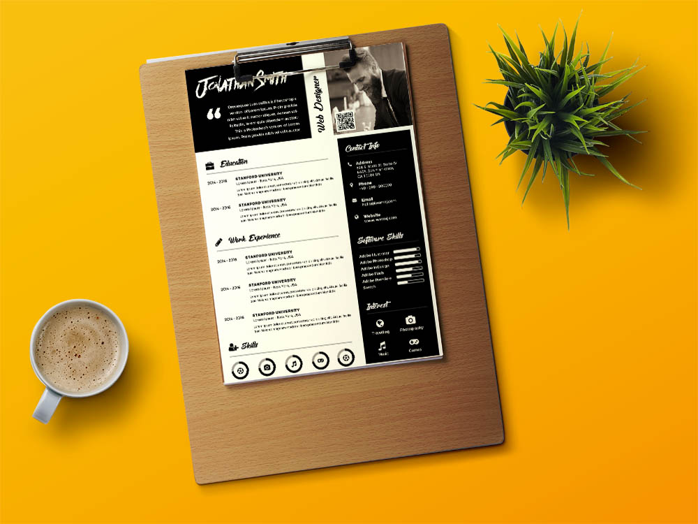 Free Black PSD Resume Template with Creative Design