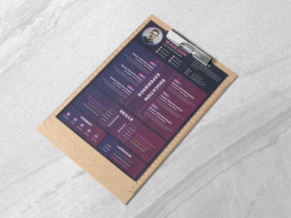 Free Purple PSD Resume Template for Any Opportunity
