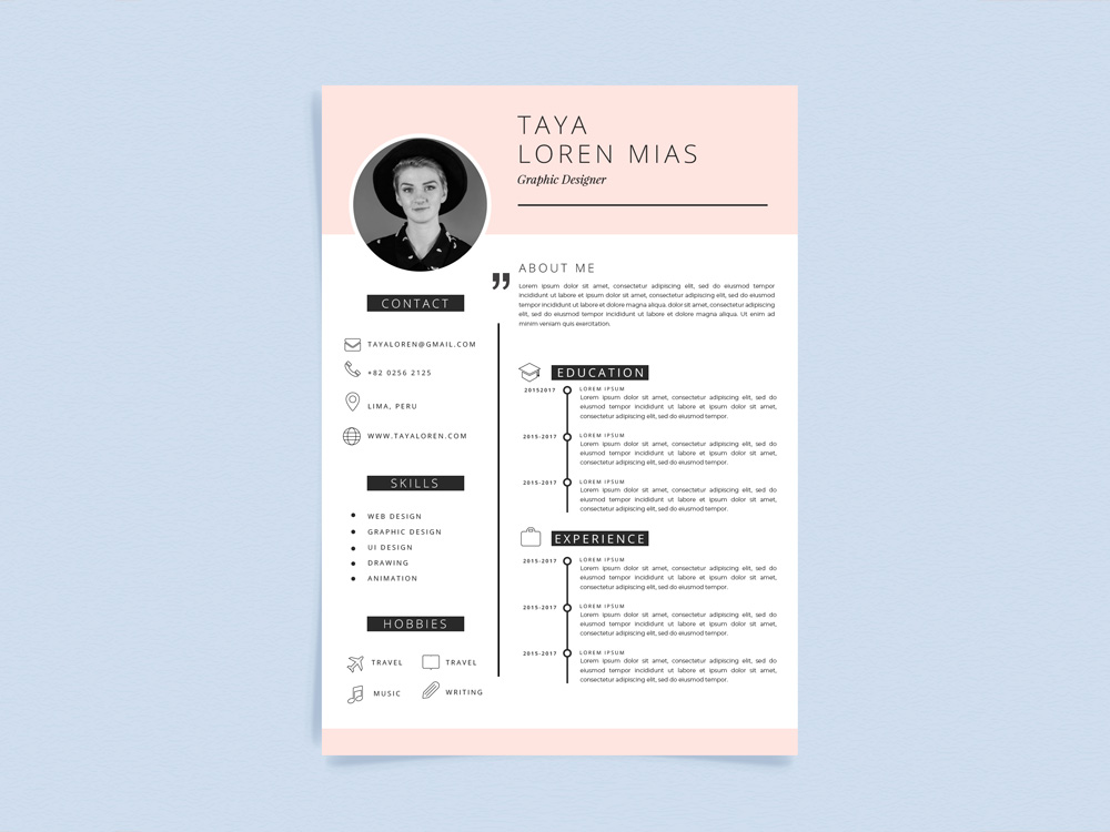 loren template free curriculum vitae template with minimalist style