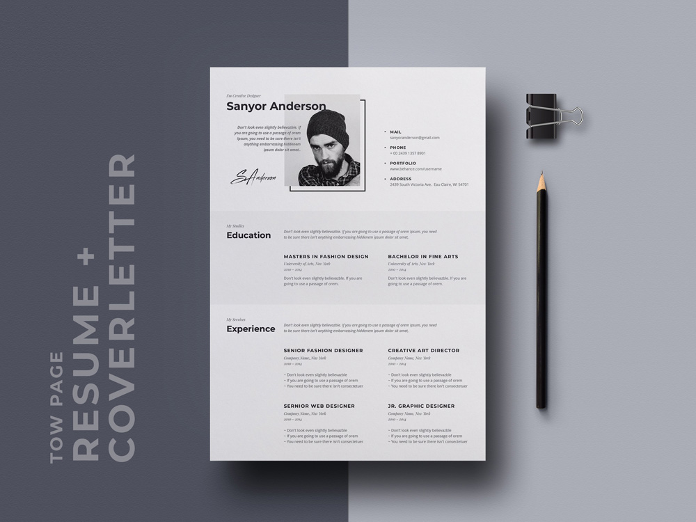 free stylish cv resume template with cover letter page