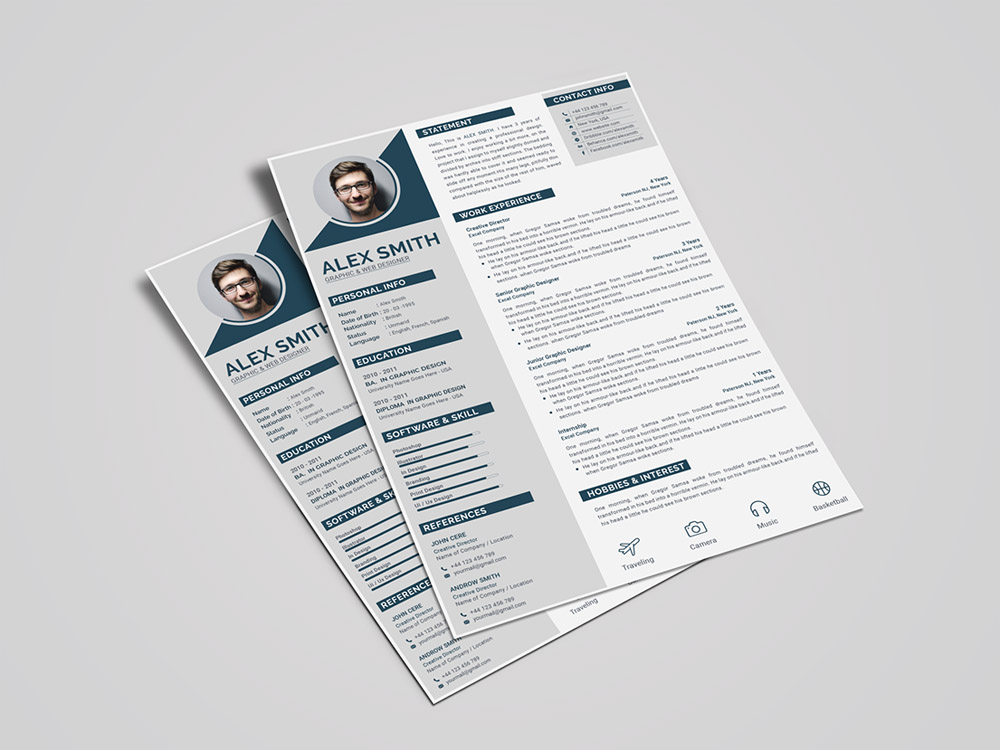 Free Modern Curriculum Vitae Template With Cover Letter Page